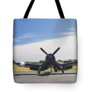 Vought F4u Corsair Fighter Plane On Runway Canvas Photo Poster Print Tote Bag