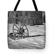 Wagon Wheel In Winter Tote Bag