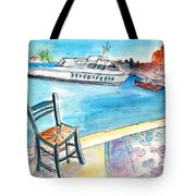 Waiting For Godot In Crete Tote Bag