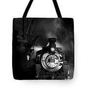 Waiting For More Coal Black And White Tote Bag