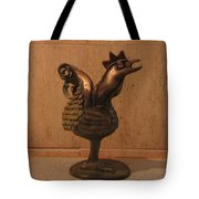 Wakeup Call Rooster Bronze Sculpture With Beak Feathers Tail Brass And Opaque Surface  Tote Bag