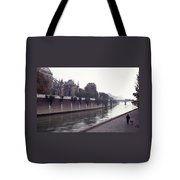 Walking The Dog Along The Seine Tote Bag