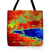 Walking The Dog On A Hot Day Tote Bag
