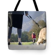 Walking With Her Dogs Tote Bag