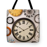 Wall Clocks Tote Bag