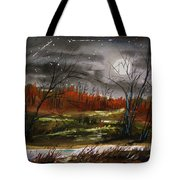 Warm Night And Meteor Shower Tote Bag