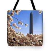 Washington Monument Cherry Trees Tote Bag