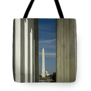 Washington Monument Framed By Lincoln Memorial Tote Bag