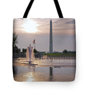 Washington Monument From The World War II Memorial Tote Bag