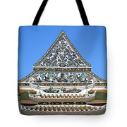 Wat Ratcha Orasaram Temple Gate And Ubosot Gable Dthb858 Tote Bag