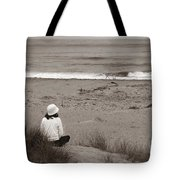 Watching The Ocean In Black And White Tote Bag