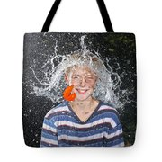 Water Balloon Popped Above Boys Head Tote Bag