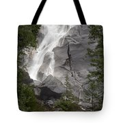 Water Cascading Down The Rock And Tote Bag