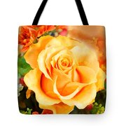Water Color Yellow Rose With Orange Flower Accents Tote Bag