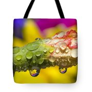 Water Drops On A Budding Flower Tote Bag
