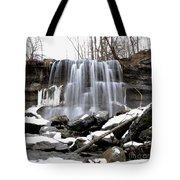 Water Falls At Rock Glen Tote Bag