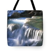 Water Flowes Over Travertine Formations Tote Bag