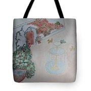Water Fountain Amidst Garden Tote Bag