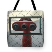 Water Hydrants Built Into A Wire Mesh Fence Tote Bag