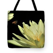 water lily 3 Yellow Water Lily with Bee Tote Bag