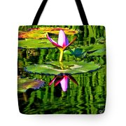 Water Lily Pond Garden Impressionistic Monet Style Tote Bag