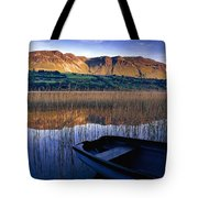 Water Reflections With Boat Tote Bag