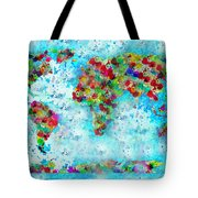 Watercolor Splashes World Map Tote Bag