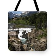 Waterfall At Many Glacier Tote Bag