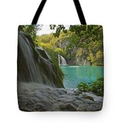 Waterfall At Plitvice National Park In Tote Bag