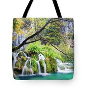 Waterfall In The Plitvice Lakes National Park Tote Bag