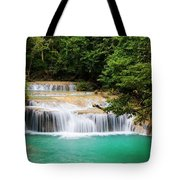 Waterfall In Tropical Forest Tote Bag