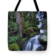 Waterfall Pouring Down Mountainside Tote Bag