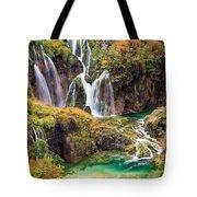 Waterfalls In Autumn Scenery Tote Bag