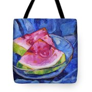Watermelon On Blue Tote Bag