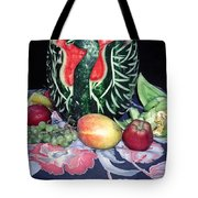Watermelon Swan Tote Bag by Sally Weigand
