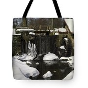 Waterwheel And Stream In Winter Tote Bag