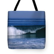 Wave Breaking Right On The Beach At 17 Tote Bag