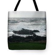 Wave Hitting Rock Tote Bag