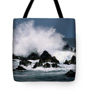 Waves Crash Against The Rocks In Great Tote Bag