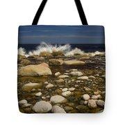 Waves Hitting Rocks, Anchor Brook Tote Bag