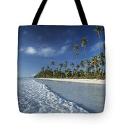 Waves Lapping Shore Of Beach With Palm Tote Bag