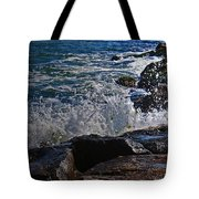 Waves Meet Jetty Tote Bag