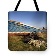 Weathered Fishing Boat On Shore, Holy Tote Bag