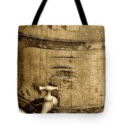 Weathered Wooden Bucket In Sepia Tote Bag