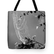 Web In The Rain B-w Tote Bag
