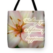 Wedding Happiness Greeting Card - Lilies Tote Bag