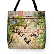 Welsh Farm Cockerels On Patrol Tote Bag