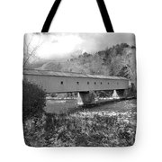 West Cornwall Connecticut Covered Bridge Black And White Tote Bag