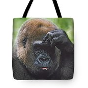 Western Gorilla Portrait With Finger On Tote Bag