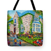 Westmount Birthday Party-montreal Urban Scene-little Girls Playing Tote Bag
